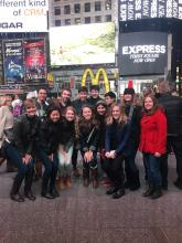 Juniors pose in Time Square